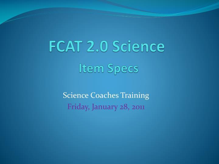 fcat 2 0 science item specs n.