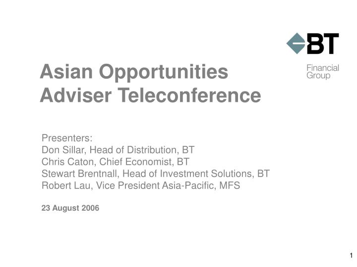 asian opportunities adviser teleconference n.