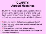 clarity agreed meanings