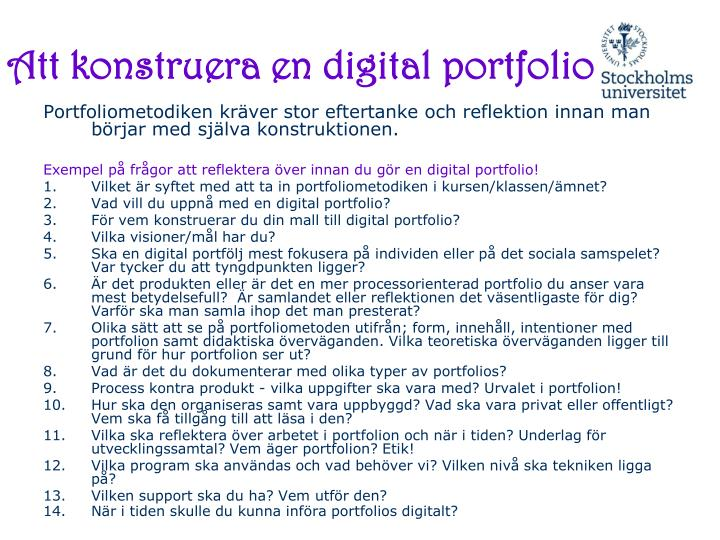 Att konstruera en digital portfolio