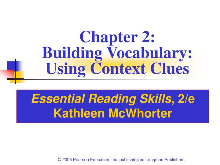 chapter 2 building vocabulary using context clues n.