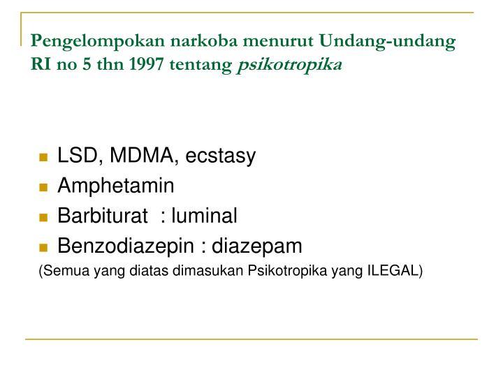 Pengelompokan narkoba menurut Undang-undang RI no 5 thn 1997 tentang