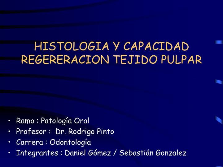 histologia y capacidad regereracion tejido pulpar n.