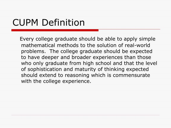 CUPM Definition