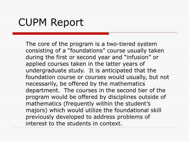 CUPM Report