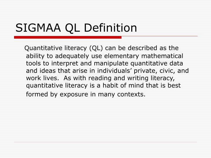SIGMAA QL Definition