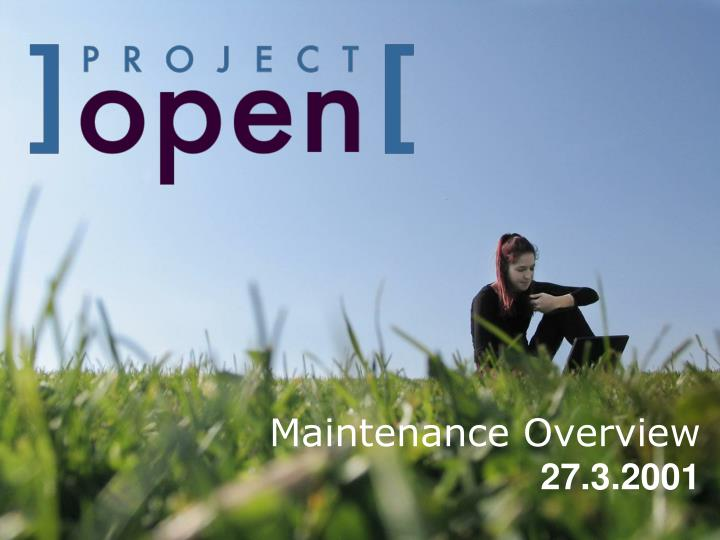 maintenance overview 27 3 2001 n.