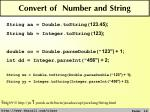convert of number and string