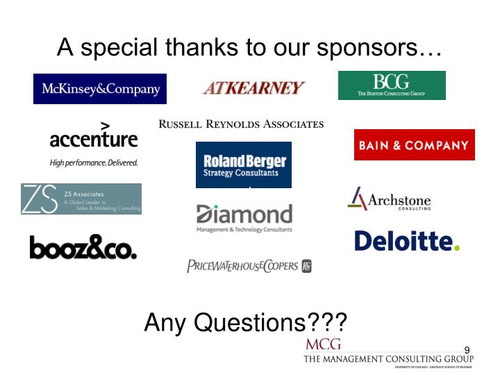 A special thanks to our sponsors…
