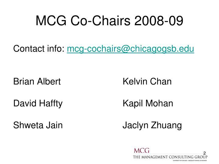 Mcg co chairs 2008 09