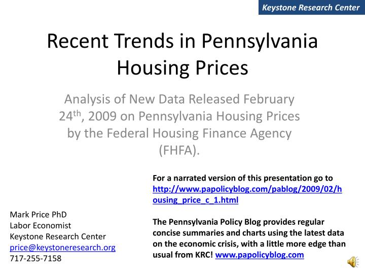 recent trends in pennsylvania housing prices n.