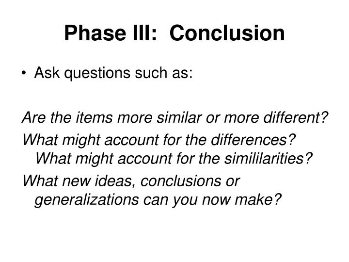 Phase III:  Conclusion
