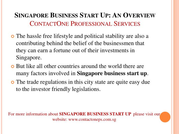 Singapore business start up an overview contactone professional services1