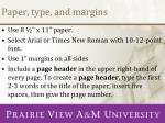 paper type and margins