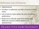 reference list of sources