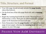 title structure and format