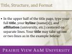 title structure and format1