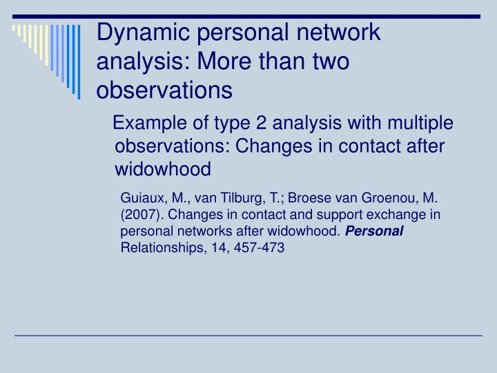 Dynamic personal network analysis: More than two observations