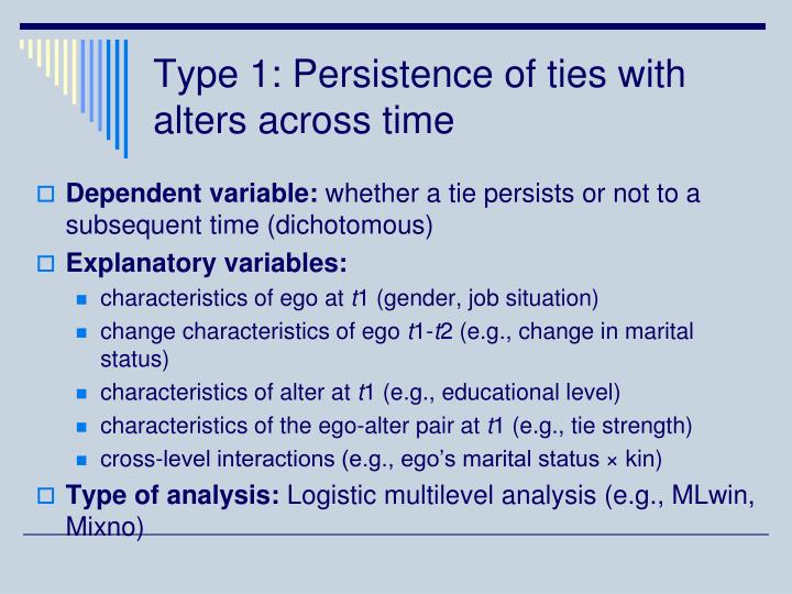 Type 1: Persistence of ties with alters across time