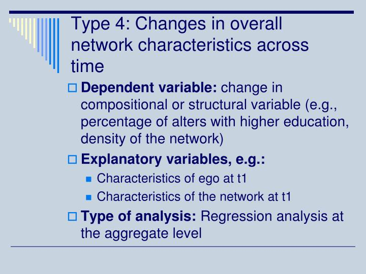 Type 4: Changes in overall network characteristics across time