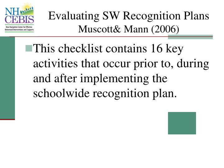 Evaluating SW Recognition Plans