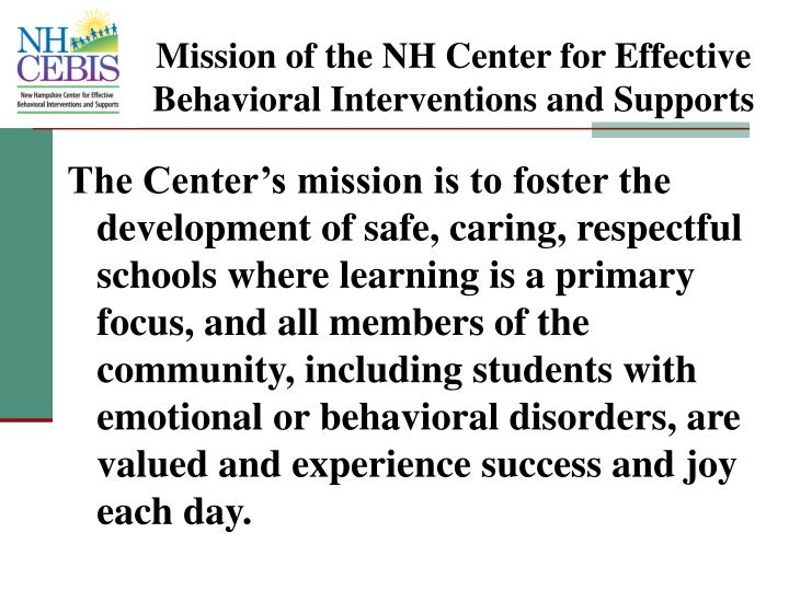 Mission of the NH Center for Effective