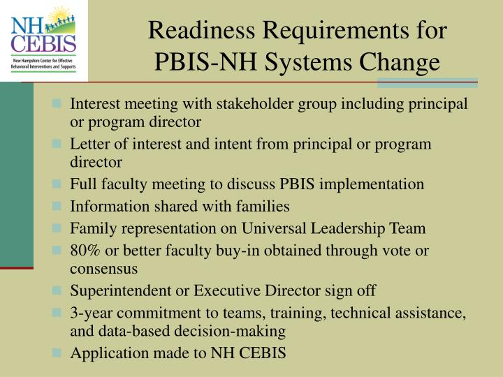 Readiness Requirements for PBIS-NH Systems Change