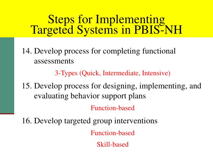 14. Develop process for completing functional assessments