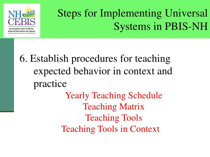 Steps for Implementing Universal