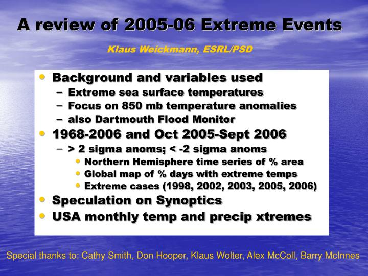 a review of 2005 06 extreme events n.