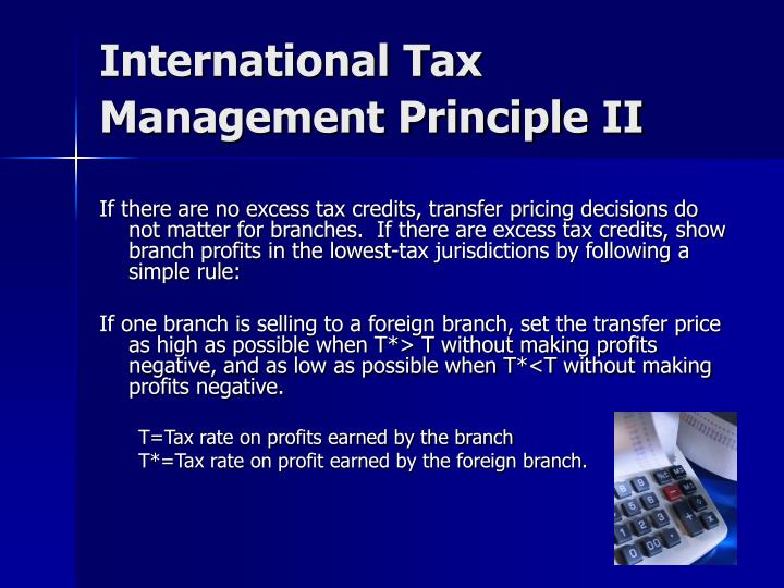 International Tax Management Principle II