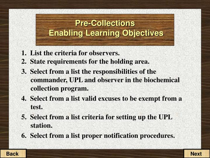 pre collections enabling learning objectives n.