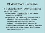 student team intensive