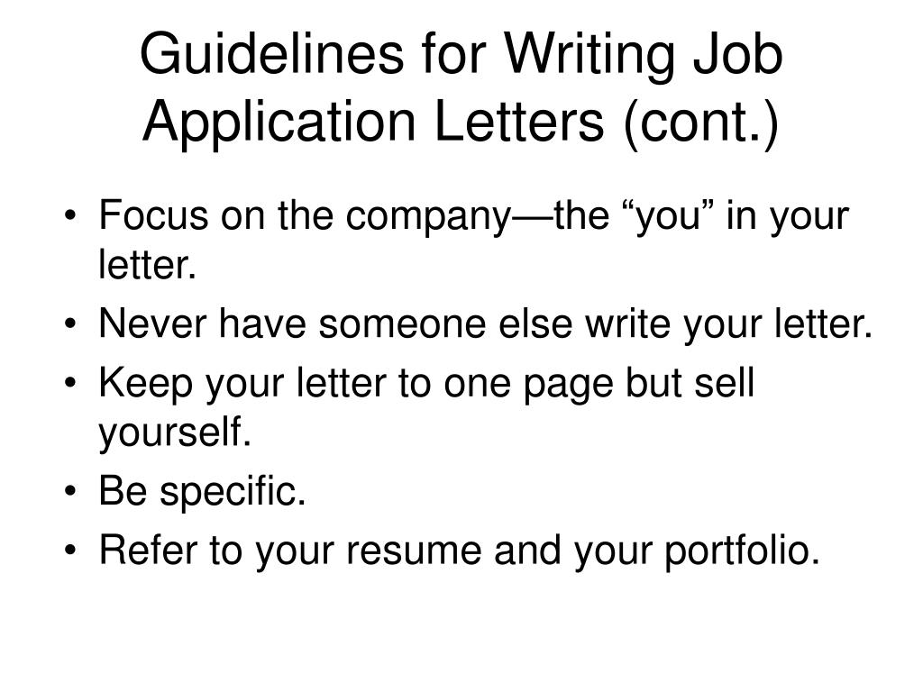 Writing an application letter