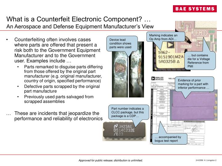 What is a counterfeit electronic component an aerospace and defense equipment manufacturer s view