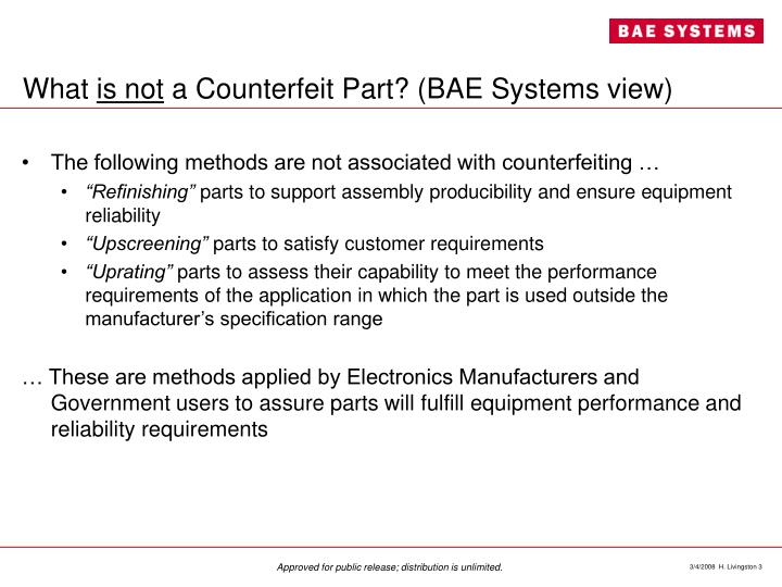 What is not a counterfeit part bae systems view