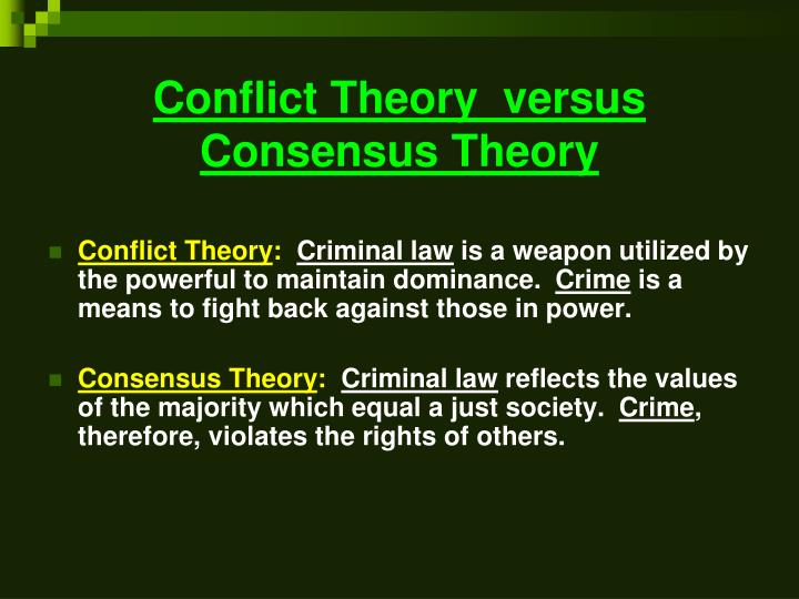 reaction conflict theory and consensus theory In this reaction paper i will define what the conflict theory is as it relates to education and the drawbacks associated with it in my opinion, conflict by itself refers to dysfunction and can be very harmful to society.