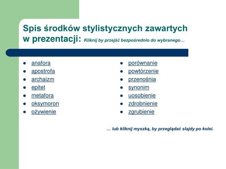 Spis rodk w stylistycznych zawartych w prezentacji kliknij by przej bezpo rednio do wybranego