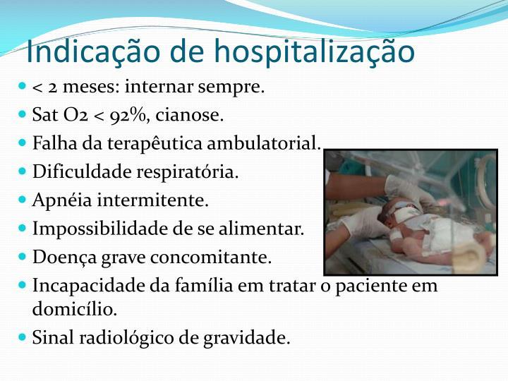 Indicação de hospitalização