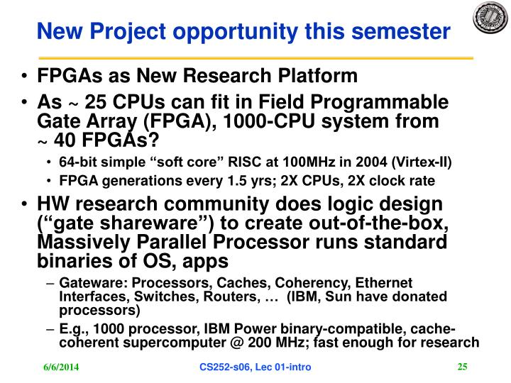 New Project opportunity this semester