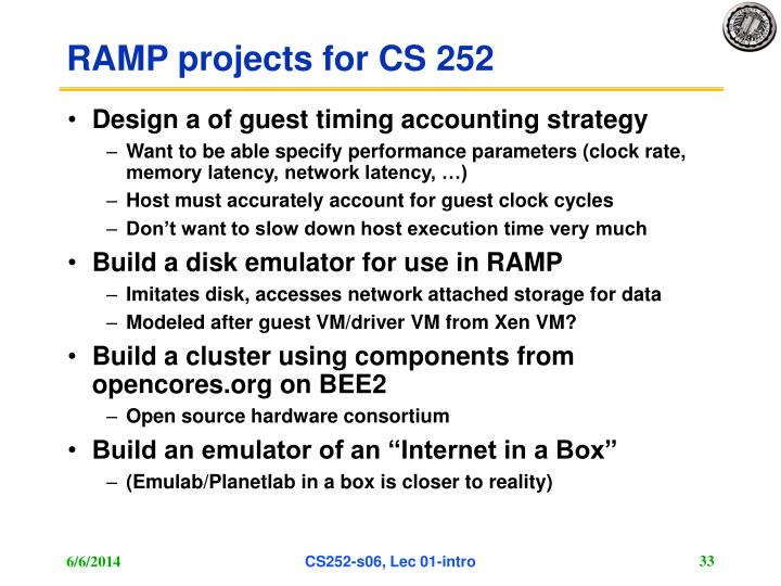 RAMP projects for CS 252