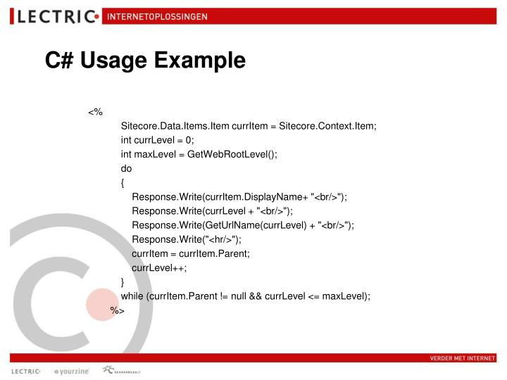 C# Usage Example