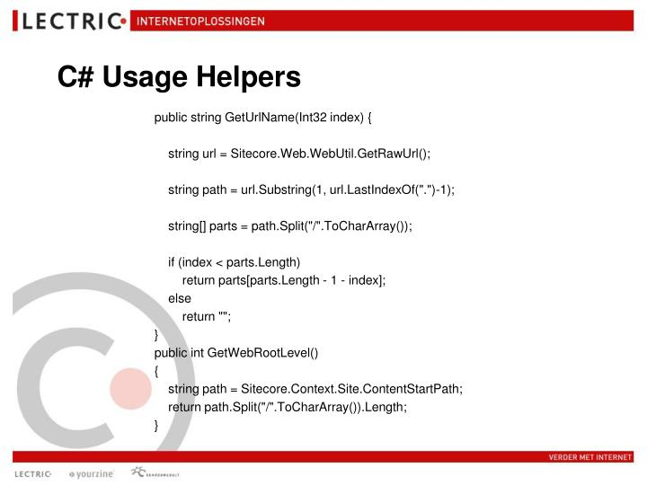 C# Usage Helpers