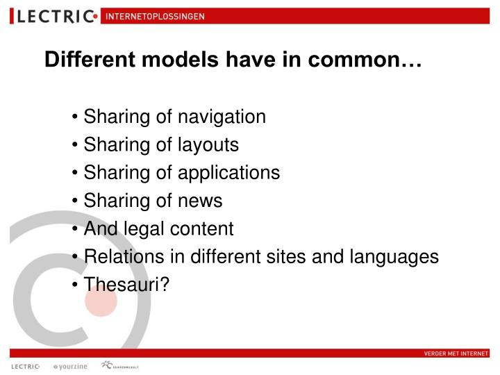 Different models have in common…
