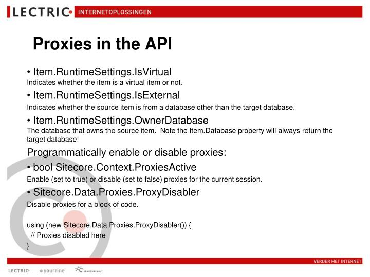 Proxies in the API