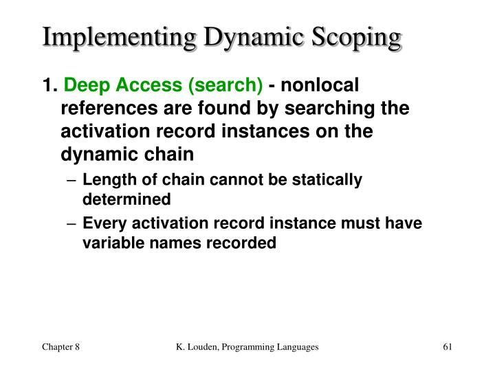 Implementing Dynamic Scoping