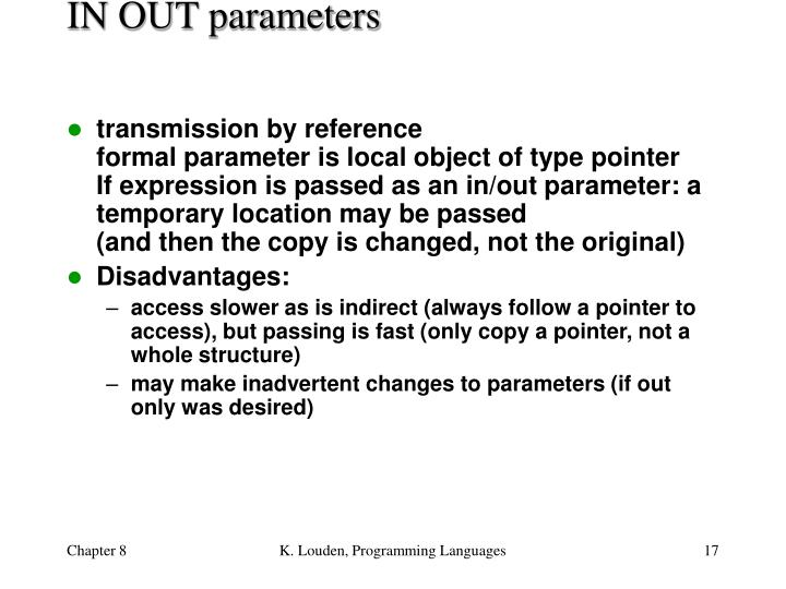 IN OUT parameters