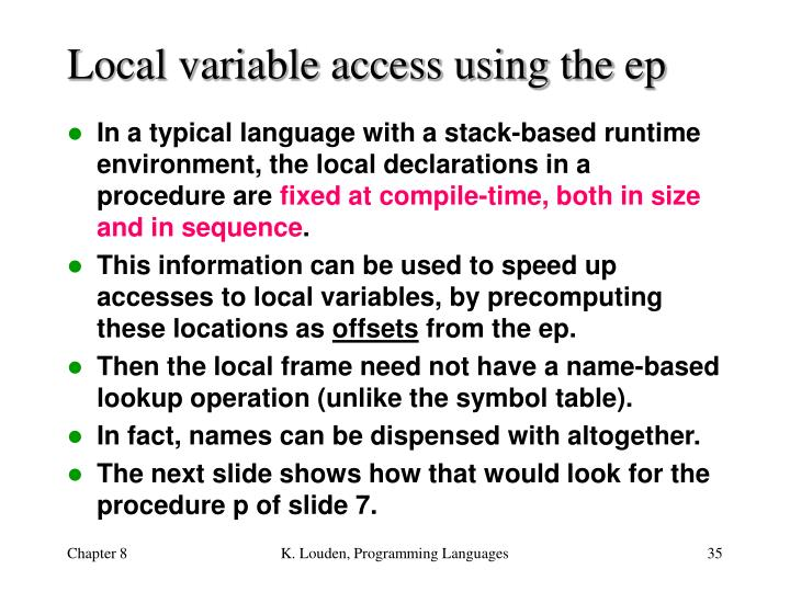 Local variable access using the ep