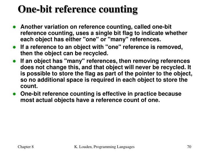 One-bit reference counting