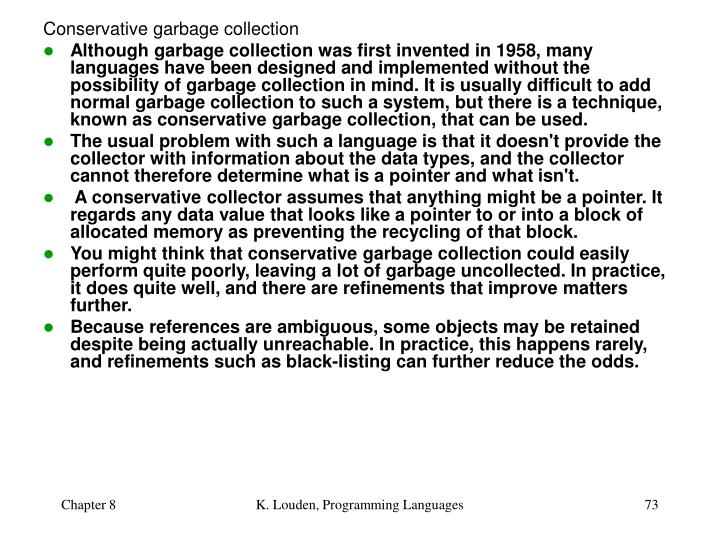 Conservative garbage collection